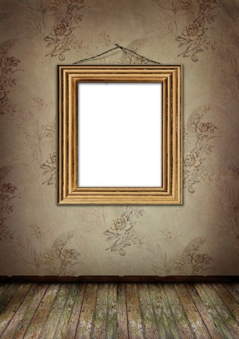 gold frame on old wall
