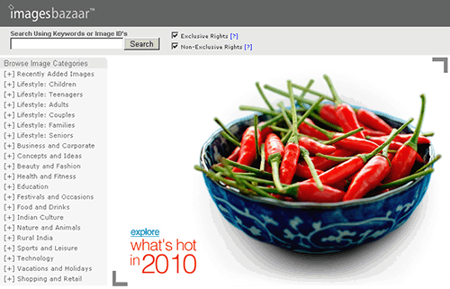 imagesbazaar home page screenshot