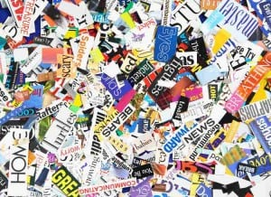 Jennifer Stone   Words clipped from magazines form a colorful background